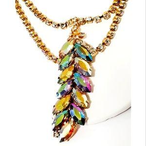 Designer AB Rhinestone Leaf double strand necklace